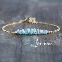 Raw Larimar Bracelet, Healing Crystal Jewelry Gift For Woman | Natural genuine Gemstone jewelry. Buy crystal jewelry, handmade handcrafted artisan jewelry for women.  Unique handmade gift ideas. #jewelry #beadedjewelry #beadedjewelry #gift #shopping #handmadejewelry #fashion #style #product #jewelry #affiliate #ad