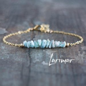 Shop Larimar Jewelry! Raw Larimar Bracelet, Healing Crystal Jewelry Gift For Woman | Natural genuine Larimar jewelry. Buy crystal jewelry, handmade handcrafted artisan jewelry for women.  Unique handmade gift ideas. #jewelry #beadedjewelry #beadedjewelry #gift #shopping #handmadejewelry #fashion #style #product #jewelry #affiliate #ad
