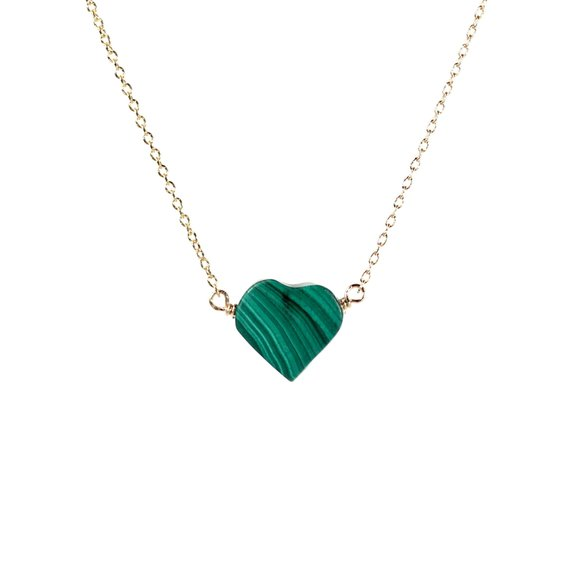 Malachite Necklace, Green Heart Necklace, Love Necklace Healing Stone Necklace, Healing Necklace, 14k Gold Filled Chain