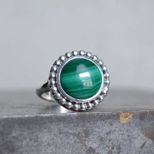 Shop Malachite Rings! Malachite Ring, Sterling Silver, Malachite, Green Gemstone Ring, Silver gemstone ring, gemstone ring, Beaded border | Natural genuine Malachite rings, simple unique handcrafted gemstone rings. #rings #jewelry #shopping #gift #handmade #fashion #style #affiliate #ad