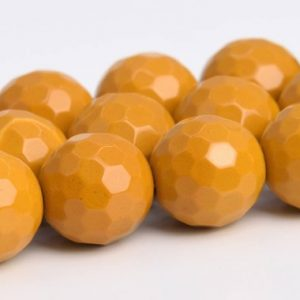 """8mm Yellow Mookaite Beads Aaa Genuine Natural Gemstone Full Strand Micro Faceted Round Loose Beads 15"""" Bulk Lot 1, 3, 5, 10, 50 (103644-932) 