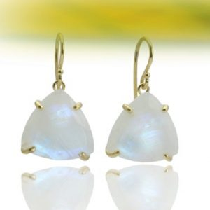 Rainbow moonstone earrings,trillion earrings,triangle earrings,gemstone earrings,semiprecious earrings,wedding earri | Natural genuine Gemstone earrings. Buy handcrafted artisan wedding jewelry.  Unique handmade bridal jewelry gift ideas. #jewelry #beadedearrings #gift #crystaljewelry #shopping #handmadejewelry #wedding #bridal #earrings #affiliate #ad