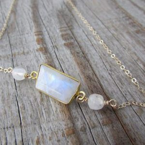 Shop Rainbow Moonstone Necklaces! Moonstone Necklace, gold necklace, bezel set, faceted rainbow moonstone necklace | Natural genuine Rainbow Moonstone necklaces. Buy crystal jewelry, handmade handcrafted artisan jewelry for women.  Unique handmade gift ideas. #jewelry #beadednecklaces #beadedjewelry #gift #shopping #handmadejewelry #fashion #style #product #necklaces #affiliate #ad