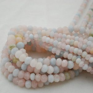"Shop Morganite Faceted Beads! High Quality Grade A Natural Beryl Morganite Semi-precious Gemstone Faceted Rondelle Spacer Beads – 6mm, 8mm Sizes – 15.5"" Strand 