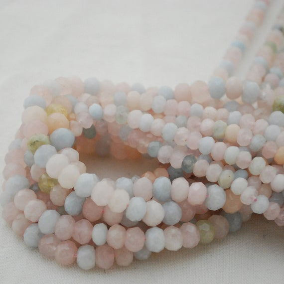 """High Quality Grade A Natural Beryl Morganite Semi-precious Gemstone Faceted Rondelle Spacer Beads - 6mm, 8mm Sizes - 15.5"""" Strand"""