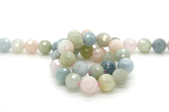 Natural Morganite, Morganite Faceted Sphere Ball Round Natural Gemstone Beads Stones - 8mm 10mm 12mm
