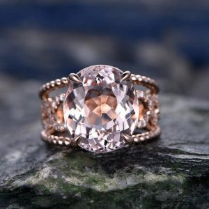 10x12mm Big Oval Morganite engagement ring- Solid 14k Rose gold  anniversary ring-Solitaire Stacking band- art deco floral promise ring | Natural genuine Gemstone rings, simple unique alternative gemstone engagement rings. #rings #jewelry #bridal #wedding #jewelryaccessories #engagementrings #weddingideas #affiliate #ad