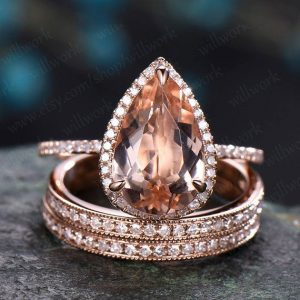 8x12mm Morganite Engagement Ring Set Rose Gold Diamond Halo Ring 3pcs Morganite Bridal Set Antique Matching Stacking Wedding Promise Ring | Natural genuine Array jewelry. Buy handcrafted artisan wedding jewelry.  Unique handmade bridal jewelry gift ideas. #jewelry #beadedjewelry #gift #crystaljewelry #shopping #handmadejewelry #wedding #bridal #jewelry #affiliate #ad