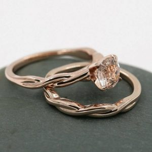Aaa Morganite Ring.solid 14k Rose Gold Morganite Engagement Wedding Ring.matching Band.bridal Round Morganite Minimalist Twist Ring 2pcs Set | Natural genuine Array jewelry. Buy handcrafted artisan wedding jewelry.  Unique handmade bridal jewelry gift ideas. #jewelry #beadedjewelry #gift #crystaljewelry #shopping #handmadejewelry #wedding #bridal #jewelry #affiliate #ad