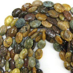 "18mm natural ocean jasper flat oval beads 15.5"" strand 12862 