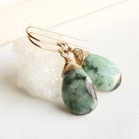 Green Opal Earrings, Goldfilled Wire Wrap, Natural Green Black Gemstone, Minimalist Artisan Dangle Teardrops, Holiday Gift For Her, 4174 | Natural genuine Gemstone jewelry. Buy crystal jewelry, handmade handcrafted artisan jewelry for women.  Unique handmade gift ideas. #jewelry #beadedjewelry #beadedjewelry #gift #shopping #handmadejewelry #fashion #style #product #jewelry #affiliate #ad