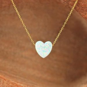 Opal heart necklace – love necklace – valentines necklace – gold heart necklace – silver heart necklace | Natural genuine Gemstone necklaces. Buy crystal jewelry, handmade handcrafted artisan jewelry for women.  Unique handmade gift ideas. #jewelry #beadednecklaces #beadedjewelry #gift #shopping #handmadejewelry #fashion #style #product #necklaces #affiliate #ad