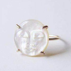 Shop Pearl Rings! Pearl Moon Ring, MAN In The MOON Ring, Moon Face Gold Ring | Natural genuine Pearl rings, simple unique handcrafted gemstone rings. #rings #jewelry #shopping #gift #handmade #fashion #style #affiliate #ad