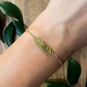 "Shop Peridot Bracelets! Peridot bead bar crystal bracelet in bronze, silver, gold or rose gold – 6"" chain with 2"" adjustable extender – August birthstone 