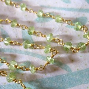 30% Off Sale .. Rosary Chain By The Foot, Peridot Wire Wrapped Rondelles Gemstone Chain, Silver Or Gold Plated, Wholesale Chain Rc.12 Solo | Natural genuine rondelle Peridot beads for beading and jewelry making.  #jewelry #beads #beadedjewelry #diyjewelry #jewelrymaking #beadstore #beading #affiliate #ad