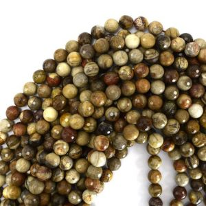 "Shop Petrified Wood Beads! 10mm Faceted Petrified Wood Agate Round Beads 15"" Strand S1 39419 