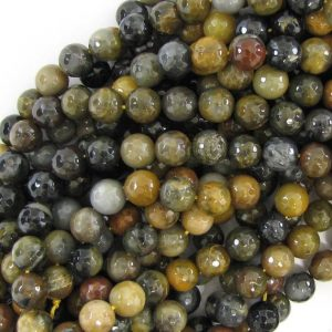 "Shop Petrified Wood Beads! 12mm Faceted Petrified Wood Agate Round Beads 15"" Strand S2 38715 