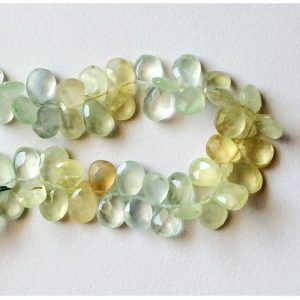 Shop Prehnite Bead Shapes! Prehnite Faceted Pear Beads – 11.5mm – 12.5mm – Briolette Beads – Prehnite Gemstone Beads – Full Strand 8 Inches, 45 Pieces Approx | Natural genuine other-shape Prehnite beads for beading and jewelry making.  #jewelry #beads #beadedjewelry #diyjewelry #jewelrymaking #beadstore #beading #affiliate #ad