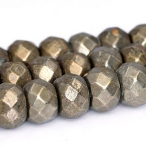 """Shop Pyrite Faceted Beads! 6x4MM Copper Pyrite Beads Grade AAA Natural Gemstone Faceted rondelle Loose Beads 15.5""""/ 7.5"""" Bulk Lot Options(102320) 