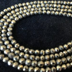 Shop Pyrite Faceted Beads! Pyrite Faceted Round Rondelles Gemstone Beads / Bronze, Luxe Aaa, 3.5-4 Mm, Full Strand / Wholesale Loose Semiprecious Gem Beads Brr Solo | Natural genuine faceted Pyrite beads for beading and jewelry making.  #jewelry #beads #beadedjewelry #diyjewelry #jewelrymaking #beadstore #beading #affiliate #ad