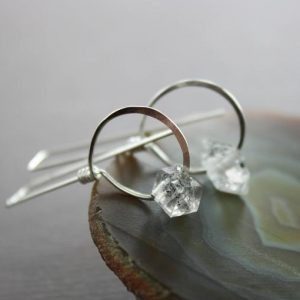 Shop Quartz Crystal Earrings! Threader Herkimer Diamond Sterling Silver Earrings With Hoops, Gift For Her, Geometric Earrings, Diamond Earrings, Modern Earrings – Er115 | Natural genuine Quartz earrings. Buy crystal jewelry, handmade handcrafted artisan jewelry for women.  Unique handmade gift ideas. #jewelry #beadedearrings #beadedjewelry #gift #shopping #handmadejewelry #fashion #style #product #earrings #affiliate #ad