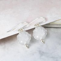 White Earrings, Gemstone Earrings, Quartz Earrings, Gemstone Jewelry, 925 Silver Drop Earring, Snowball Quartz, Ball Earrings, Gift For Her | Natural genuine Gemstone jewelry. Buy crystal jewelry, handmade handcrafted artisan jewelry for women.  Unique handmade gift ideas. #jewelry #beadedjewelry #beadedjewelry #gift #shopping #handmadejewelry #fashion #style #product #jewelry #affiliate #ad