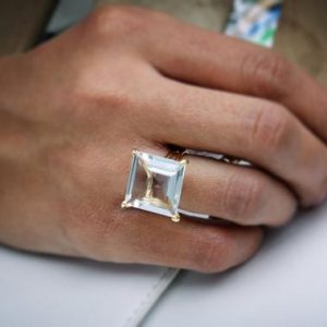 Clear Quartz Ring, gold Gemstone Ring, reflective Ring, energy Ring, square Prong Ring, square Stone Ring | Natural genuine Quartz rings, simple unique handcrafted gemstone rings. #rings #jewelry #shopping #gift #handmade #fashion #style #affiliate #ad