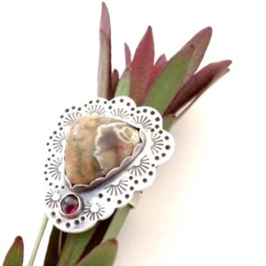 Shop Rainforest Jasper Jewelry! Rainforest Jasper, Garnet, Sterling Silver, Hand Stamped, Statement Ring | Natural genuine Rainforest Jasper jewelry. Buy crystal jewelry, handmade handcrafted artisan jewelry for women.  Unique handmade gift ideas. #jewelry #beadedjewelry #beadedjewelry #gift #shopping #handmadejewelry #fashion #style #product #jewelry #affiliate #ad