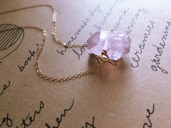 Rose Quartz Moon Necklace - Raw Crystal Necklace - Pendant Necklace - Gift For Her - Healing Heart Chakra Jewelry - Gemstone Necklace