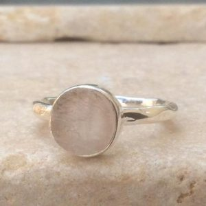 Shop Rose Quartz Rings! Raw Rose Quartz Silver Ring, Rough Gemstone Ring, Natural Stone Silver Ring, Boho Style Ring | Natural genuine Rose Quartz rings, simple unique handcrafted gemstone rings. #rings #jewelry #shopping #gift #handmade #fashion #style #affiliate #ad