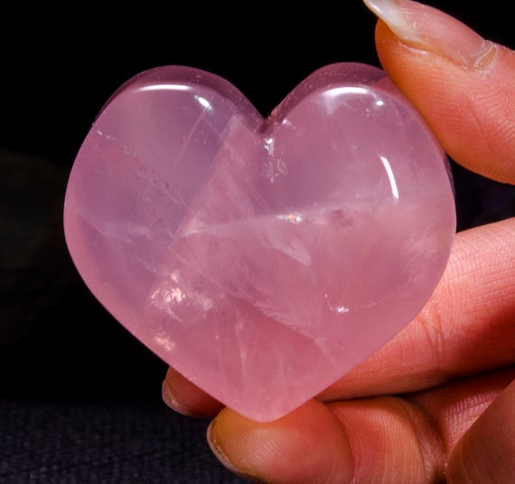 Best Clear Hand Carved Pink Quartz Polished Heart Shaped / Rose Quartz Love Stone / Pink Heart / Rose Quartz Heart / Jewelry / Special Gift / #4399