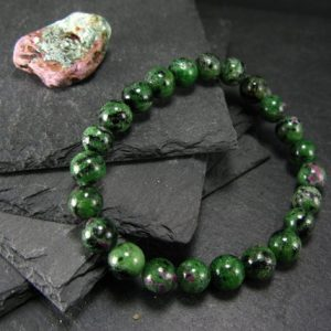 Shop Ruby Bracelets! Ruby In Zoisite Genuine Bracelet ~ 7 Inches ~ 8mm Round Beads | Natural genuine Ruby bracelets. Buy crystal jewelry, handmade handcrafted artisan jewelry for women.  Unique handmade gift ideas. #jewelry #beadedbracelets #beadedjewelry #gift #shopping #handmadejewelry #fashion #style #product #bracelets #affiliate #ad