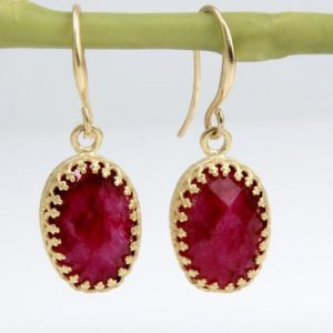 Shop Ruby Earrings! Gold Ruby Earrings, gemstone Earrings, post Earrings, oval Earrings, dangle Earrings, gold Earrings | Natural genuine Ruby earrings. Buy crystal jewelry, handmade handcrafted artisan jewelry for women.  Unique handmade gift ideas. #jewelry #beadedearrings #beadedjewelry #gift #shopping #handmadejewelry #fashion #style #product #earrings #affiliate #ad