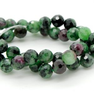 Shop Ruby Zoisite Faceted Beads! Natural Red Green Ruby, Red Green Ruby Zoisite Faceted Sphere Ball Round Natural Gemstone Beads Stones – 6mm | Natural genuine faceted Ruby Zoisite beads for beading and jewelry making.  #jewelry #beads #beadedjewelry #diyjewelry #jewelrymaking #beadstore #beading #affiliate #ad