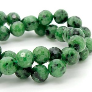 Shop Ruby Zoisite Faceted Beads! Natural Ruby Zoisite, Green Ruby Zoisite Faceted Sphere Ball Round Natural Gemstone Beads Stones – 8mm | Natural genuine faceted Ruby Zoisite beads for beading and jewelry making.  #jewelry #beads #beadedjewelry #diyjewelry #jewelrymaking #beadstore #beading #affiliate #ad