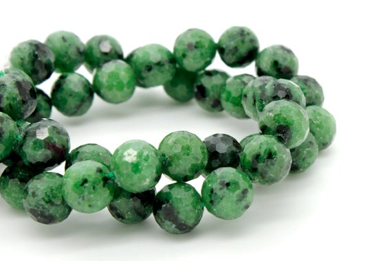 Natural Ruby Zoisite, Green Ruby Zoisite Faceted Sphere Ball Round Natural Gemstone Beads Stones - 8mm