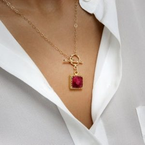 Shop Ruby Pendants! Square Ruby Pendant, gold Necklace, long Gold Chain Necklace, gemstone Necklace, july Birthstone Necklace | Natural genuine Ruby pendants. Buy crystal jewelry, handmade handcrafted artisan jewelry for women.  Unique handmade gift ideas. #jewelry #beadedpendants #beadedjewelry #gift #shopping #handmadejewelry #fashion #style #product #pendants #affiliate #ad