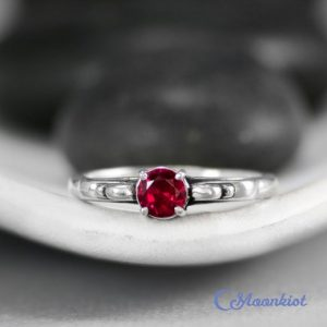 Shop Ruby Rings! Dainty Victorian Scroll Engagement Ring With Ruby In Sterling – Silver Vintage-style Wedding Ring – Promise Ring – July Birthstone | Natural genuine Ruby rings, simple unique alternative gemstone engagement rings. #rings #jewelry #bridal #wedding #jewelryaccessories #engagementrings #weddingideas #affiliate #ad