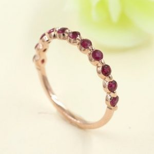 Shop Ruby Jewelry! Ruby Matching Band.AAA Quality Ruby Half Eternity Wedding Band.Women's Rose Gold Wedding Ring.Rose Gold Dainty Ruby Ring.Natural Ruby Ring | Natural genuine Ruby jewelry. Buy handcrafted artisan wedding jewelry.  Unique handmade bridal jewelry gift ideas. #jewelry #beadedjewelry #gift #crystaljewelry #shopping #handmadejewelry #wedding #bridal #jewelry #affiliate #ad