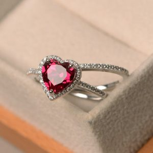 Ruby Rings, July Birthstone Rings, heart Cut Red Gemstone, Silver Halo Ring, 2 Ring Set | Natural genuine Array jewelry. Buy crystal jewelry, handmade handcrafted artisan jewelry for women.  Unique handmade gift ideas. #jewelry #beadedjewelry #beadedjewelry #gift #shopping #handmadejewelry #fashion #style #product #jewelry #affiliate #ad