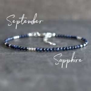 Shop Sapphire Bracelets! Dark Blue Sapphire Bracelet, September Birthday Gifts For Her, Skinny Natural Gemstone Bracelets In Sterling Silver, 14k Gold Filled | Natural genuine Sapphire bracelets. Buy crystal jewelry, handmade handcrafted artisan jewelry for women.  Unique handmade gift ideas. #jewelry #beadedbracelets #beadedjewelry #gift #shopping #handmadejewelry #fashion #style #product #bracelets #affiliate #ad