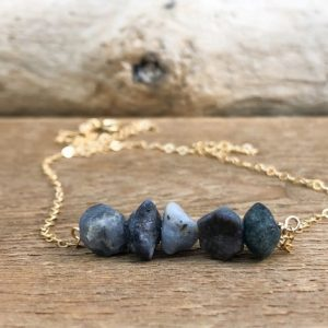 Shop Sapphire Necklaces! Raw Sapphire Bar Necklace – September Birthstone Neckalce- September Gift For Her – Gold Or Silver Sapphire Necklace – Raw Stone Necklace | Natural genuine Sapphire necklaces. Buy crystal jewelry, handmade handcrafted artisan jewelry for women.  Unique handmade gift ideas. #jewelry #beadednecklaces #beadedjewelry #gift #shopping #handmadejewelry #fashion #style #product #necklaces #affiliate #ad