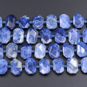 "Natural Denim Blue Sodalite Beads Large Flat Octagon Faceted Chiseled Rectangle Slice Nuggets Designer Cut Blue Gemstone 15.5"" Strand 