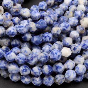 "Shop Sodalite Chip & Nugget Beads! Star Cut Natural Sodalite Faceted 6mm 8mm 10mm Rounded Nugget Sharp Facets 15"" Strand 