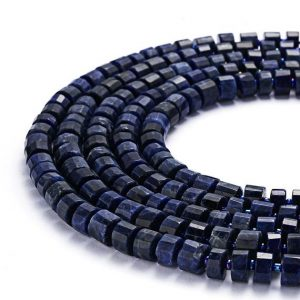 "Natural Sodalite Faceted Wheel Gemstone Loose Beads Size Approx 6x10mm 15.5"" Long Per Strand.gem-0730030-18 