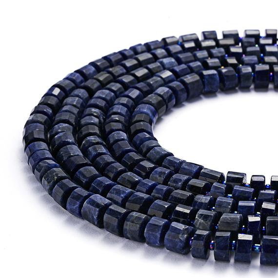 "Sodalite Faceted Rondelle Wheel Disc Beads Approx 6x10mm 15.5"" Strand"