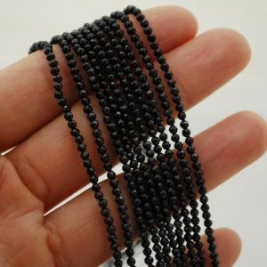 "Shop Spinel Faceted Beads! High Quality Grade A Natural Black Spinel Semi-Precious Gemstone FACETED Round Beads – approx 2mm – 15.5"" strand 