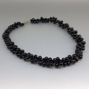 Statement necklace teardrops black Spinel – unique gift for her – genuine natural gemstone – polished beads – anniversary gift | Natural genuine Gemstone necklaces. Buy crystal jewelry, handmade handcrafted artisan jewelry for women.  Unique handmade gift ideas. #jewelry #beadednecklaces #beadedjewelry #gift #shopping #handmadejewelry #fashion #style #product #necklaces #affiliate #ad