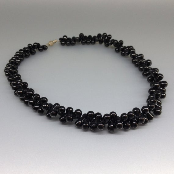 Statement Necklace Teardrops Black Spinel - Unique Gift For Her - Genuine Natural Gemstone - Polished Beads - Anniversary Gift