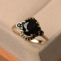 Black Spinel Ring, Yellow Gold, Halo Ring | Natural genuine Gemstone jewelry. Buy crystal jewelry, handmade handcrafted artisan jewelry for women.  Unique handmade gift ideas. #jewelry #beadedjewelry #beadedjewelry #gift #shopping #handmadejewelry #fashion #style #product #jewelry #affiliate #ad